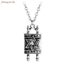 High Quality Jewish Hebrew Sefer Torah Scroll Religious Men Pendant Necklace Women With Star Of David Classic Jewelry For Men