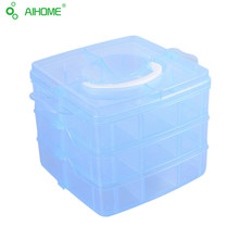 3-layers Detachable Desktop Plastic Storage Box Transparent Containers For Toy Jewelry Organizer Cabinets With Cover and Handle
