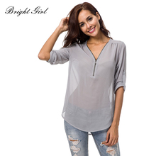 Buy BRIGHT GIRL Women blusas Summer Causal Clothes Blouse Female Shirt Tops Transparent Clothing Lady Sexy V-Neck Chiffon Blouse for $14.10 in AliExpress store