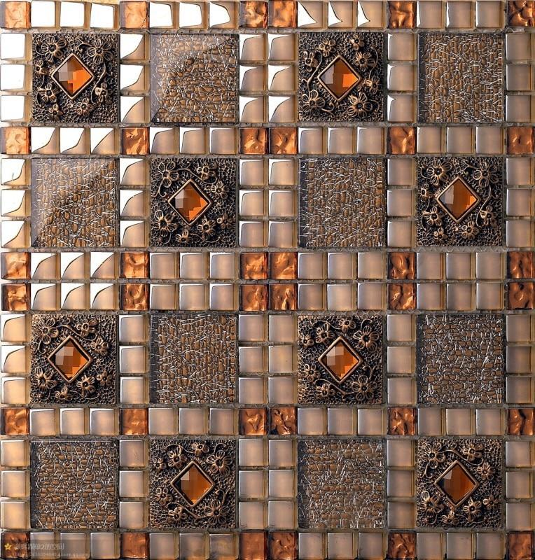 Glass mosaic floor tile