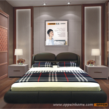 OPPEIN Hot Sell Cherry Wood Bed  / soft bed/double bed king/queen size bedroom home furniture hot sale style OP-SH679