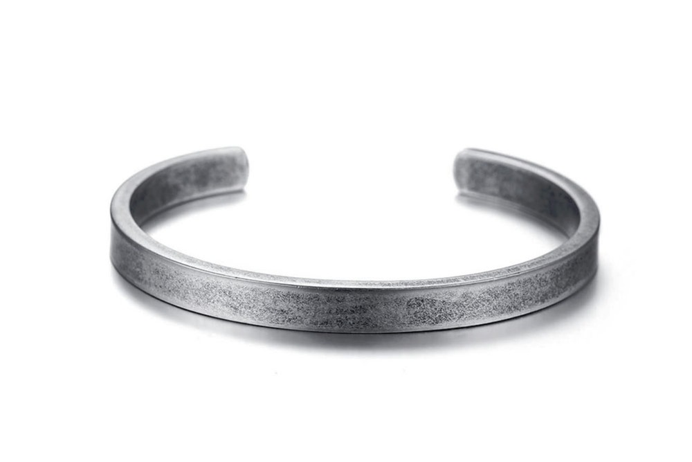 Modernist Mens Vintage Cuff Bangle Antique Silver Color Solid Bracelet Stainless steel Men's Women's Jewelry Pulseira Braslet Masculina 14