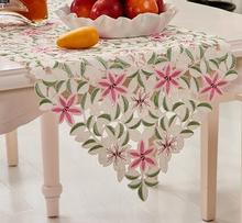 Modern Embroidery kitchen Table Runner pink lace vintage Christmas tablecloth Cloth Cover mantel nappe wedding decor wholesale