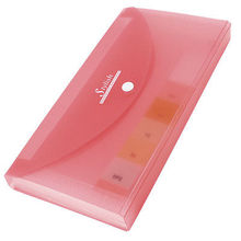 Clear Red Plastic Cover Button Closure 13 Page Letters Paper File Folder