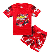 Red 2-7 Years Boys Clothing Sets Cartoon Cars Sign Mark No Rules Short T-shirt Pants for boy Children's Clothes Cotton Boutique