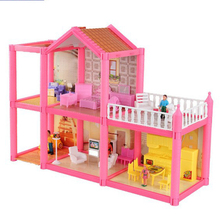 New DIY Family Doll House Dolls Accessories Toy With Miniature Furniture Garage DIY Doll House Toys For Girls Birthday Gifts(China)