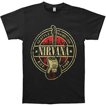 Round Neck Best Selling Male Natural Cotton Shirt Nirvana Men's Est 1988 Guitar Stamp T-shirt Black