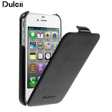 Dulcii For iPhone 4S Leather Cases Fashion Vertical Crazy Horse PU Leather Flip Case for iPhone 4 4s - Black