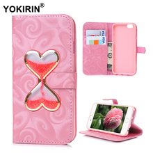 YOKIRIN Heart Hourglass Liquid Quicksand Glitter Wallet Leather Case For iPhone 5 5S SE 6 6S Plus For Samsung Galaxy J5 J7 2016