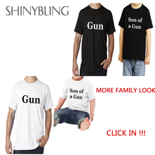 Summer 2017 New Family Look Tshirt Father Son Gun Tshirt Funny Cotton Tumblr Hipster Punk Grunge Unisex Top Clothing Graphic Tee