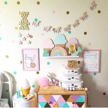 10pc/set Unicorn Clouds Swan Woodchips Set Diy Wood Banner Wall Hanging For Kids Bedroom Wall Decor Bed Background party Decor(China)