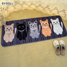 BYDOLL Welcome Floor Mats Animal Cat Printed Bathroom Kitchen Carpets Doormats Cat Floor Mat for Living Room Anti-Slip Tapete