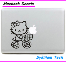 Riding Bike for Hello Kitty White for apple Sticker Macbook Skin Air 11 13 Pro 13 15 17 Retina Decal Laptop Auto Vinyl Label