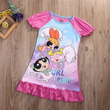 New Style Fashion The Powerpuff Girls Cartoon Dress Cotton Costume Party Casual Fashion Girls' Dresses