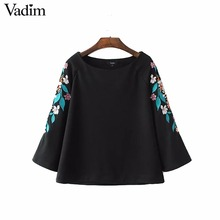 Women vintage flower embroidery loose shirts O neck solid black three quarter sleeve blouse ladies streetwear tops blusas LT1773