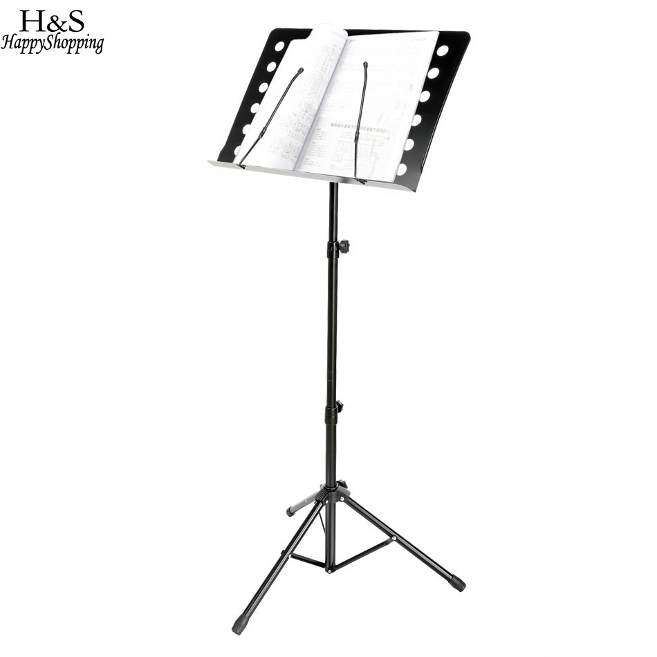 Brand New Black Adjustable Folding Music Conductor Stand Metal Sheet Tripod Holder Stage<br>