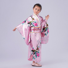 Top Selling Pink Vintage Japanese Baby Girl Kimono Kid Yukata Child Stage Dance Costumes Evening Dress Quimono One Size L3K02E