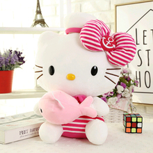 Hot Lovely Plush Toys Cartoon KT Cat Stuffed Animals Doll Accompany Sleeping Soft Kids Toys Hello Kitty Girls Gifts For Children(China)
