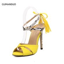 GUMANDUO New Style Summer Yellow Tassel Peep Toe Stiletto High Heels Shoes Woman Snake Skin Cross-tied Slingback Sandals Black