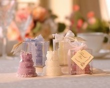 wedding party favor candle gift for guests --Deluxe Wedding Cake Candle party gift Candle decoration 80pcs/lot(China)