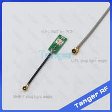 Tanger IPX IPEX U.FL female socket SMT on PCB to MHF4 plug right angle 0.81mm RF Coaxial Jumper cable 8cm 3inch for Wifi Router(China)