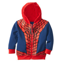 WENDYWU Free shipping new arrival kids fashion coat cartoon baby boys hoodie jacket autumn childrens spider-man outwear retail(China)