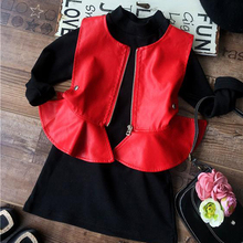 Autumn Winter Kids clothing set,red vest+black shirt dress 2-7y toddler girls cool Xmas outwear Baby Girl Vest winter
