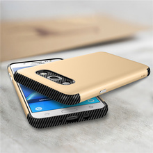 For Samsung Galaxy J2 J3 J5 J7 2016 Prime Case Hybrid 2 in 1 Carbon Fiber Design Reinforced Matte Hard PC Back Phone Cover