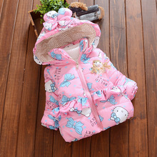 Baby Winter Jacket for Girl Winter Coat 7-24M Hello Kitty Cotton Padded Down Parkas Hooded Kids Windbreaker Thick Warm Outerwear(China)