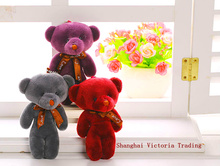 Super Kawaii 4Colors MIX - LOVE Bear Wedding Gift Plush DOLL TOY ; Stuffed BAG Pendant Plush TOY DOLL For Bouquet(China)