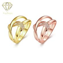 Buy Gold Jewellery Online Top Quality Geometric Design Inlaid CZ Gold/Rose-Gold Color Engagement Rings for Women(China)