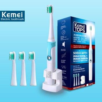 Kemei907 2015 Электрическая Зубная Щетка Ультразвуковой Sonic Электрический Поворотный Сменные Головки 30000/min Профессиональный Зубы Щеткой
