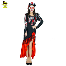 Women's Sexy Skull Bone Halloween costume Skeleton Day of The Dead Costume ghost vampire bride Fancy Dress With Mask For Party
