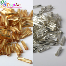 OlingArt Gold and silver Color Tube 2x9mm 400pcs Twist Bugles Glass Seed Beads Wholesale 2017 Accessory necklace jewelry making(China)