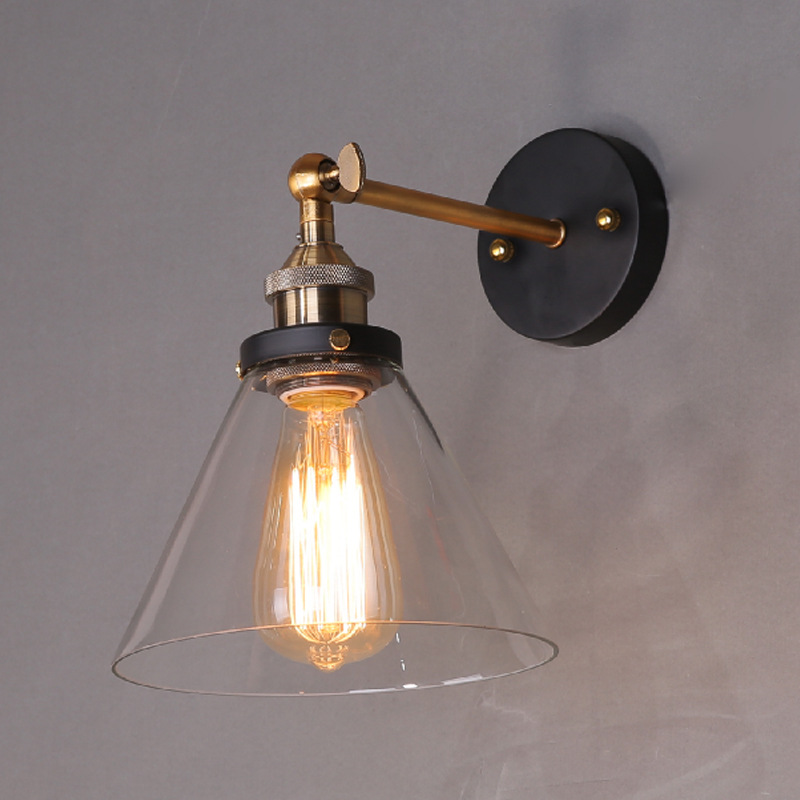 Loft Industrial Wall Lamps Vintage Bedside Wall Light Clear Glass Lampshade E27 Edison Bulbs 110V/220V WWL096<br>