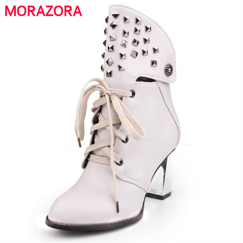 MORAZORA Large size 34-43 autumn boots PU soft leather lace up square heel round toe womens boots fashion shoes high heels<br>