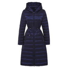 Woman Long Weightless Jacket Female Hooded Ultra Light Padded Jackets Winter Down Coat Casual Parkas Solid(China)