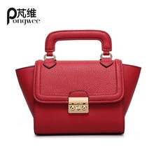 PONGWEE Big Ears Bag Women Handbags PU Leather Swing Bag Vintage Smiley Shaping Trapeze Crossbody Rock Stud Shoulder Bag