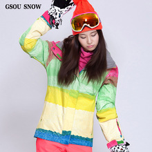 GSOU SNOWNew Lady Clothing Article Female Waterproof and Windproof Colour Ski Jacket Veneer Double Plate Thickening to Keep Warm