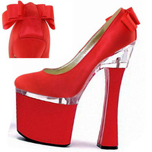 17cm Round Toe women's pumps red fashion 7 inch High Heel Shoes Platform Sexy punk Exotic Dancer shoes(China)