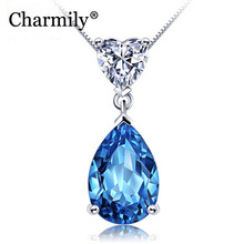 Charmily The Heart Of Ocean Water-Drop Crystal Pendants Solid 925 Sterling Silver Necklaces Jewelry For Party Holiday Love Gifts(China)