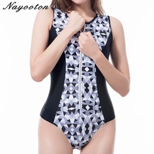 Women Monokini Swimwear 2018 New Curve Stitching Bathing Suit One Piece Swimsuit Zipper printing Beachwear Plus Size 5XL(China)