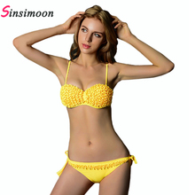 Buy Hot sale Solid floral Bikini set Women Bathing suit Sexy Push Swim suit Female Brazilian Biquini Swim wear Swimwear Beachwear