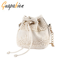 Guapabien Faux Pearl Letter Print Draw String Bucket Bag Women Small Strap Messenger Tote Bag Patckwork Crossbody Shoulder Bag(China)