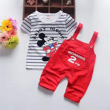2017 Summer fashion children Mickey cartoon clothing set baby boys stripe t-shirt overalls clothes suit kids costume(China)