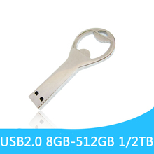 Metal Bottle Opener USB Flash Drive 64GB 2.0 Pen Drive 32GB Disk On Key Mini Usb Memory Usb Sitick Pendrive 128GB 512GB Gift