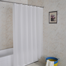 Solid White Pattern Customized PEVA Shower Curtain Waterproof Fabric Modern Shower Curtain For Bathroom(China)