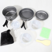 8Pcs/set Outdoor Camping Cookware Picnic Aluminum Alloy Tableware Pots Frying Pan Bowl Set For Camping Outdoor Travel