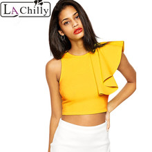 La Chilly 2017 fashion women Ruffle top Black One-shoulder Ruffle Crop Top LC25434 Sexy Women's Top T Shirt Women tops de renda