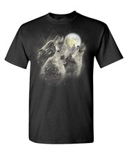 T Shirt Design Website Men's Short Graphic Crew Neck Three Wolf Howl Moon Native Spirit Nature T-shirts(China)
